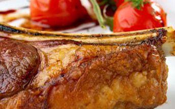 1200g PEČENÁ VEPŘOVÁ ŽEBÍRKA na medu s křenem, hořčicí a chlebem pro dva, restaurace U ztracených klíčů, Praha