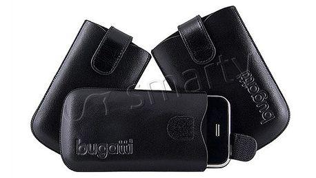 Značkové kožené pouzdro na mobil Bugatti s elastickým páskem.