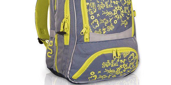 Ergonomicky tvarovaný školní batoh v nápaditém barevném provedení.