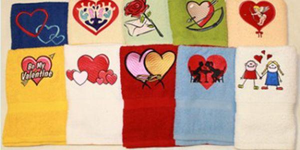 Originální dárek k Valentýnu!!! Udělejte drahé polovičce radost ručníkem s vyšitým zamilovaným motivem! Na výběr v několika barevných provedení. Možnost osobního odběru v Karlových Varech, Kadani a Plzni!