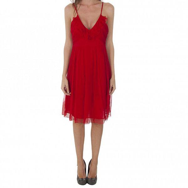 Dámské červené hedvábné šaty Naf Naf