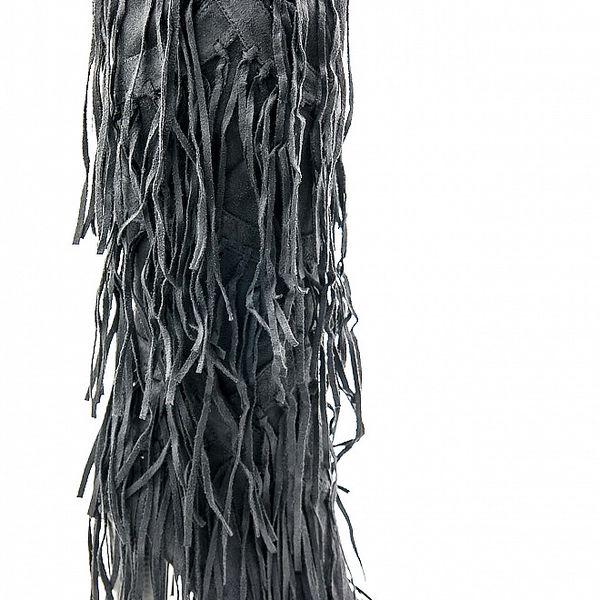 Dámske čierne čižmy Ellemoda so strapcami
