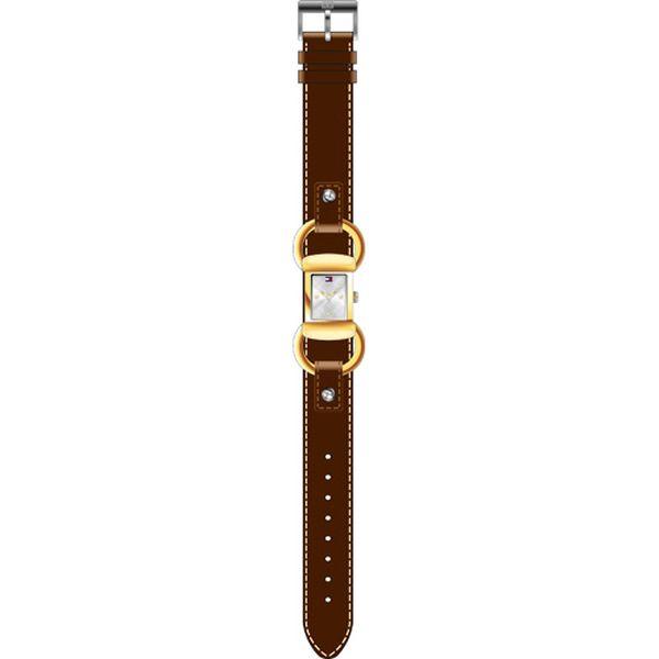Dámské ocelové hodinky Tommy Hilfiger s hnědým koženým řemínkem