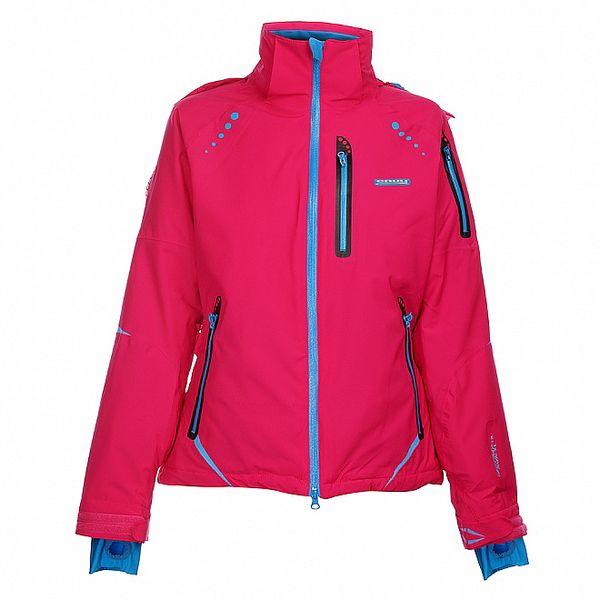 Dámska sýto ružová lyžiarska bunda Envy s modrými zipsami
