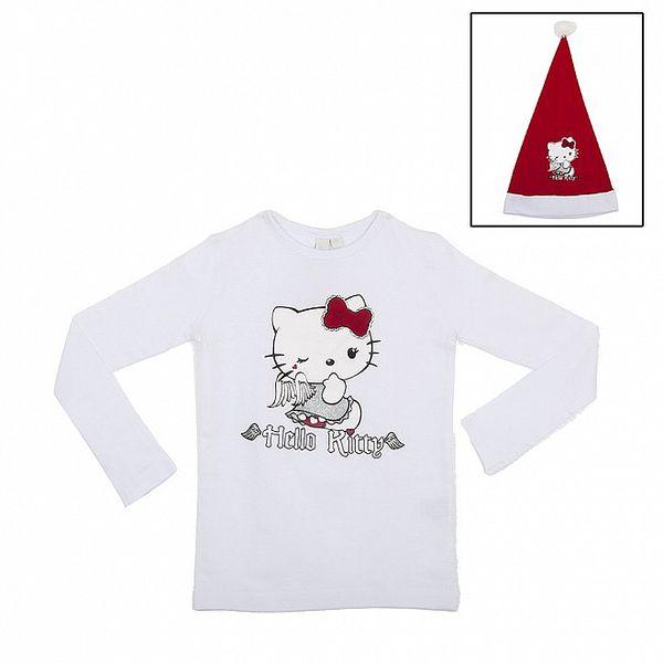 Dětský vánoční set Hello Kitty - bílé tričko a Santa čepice