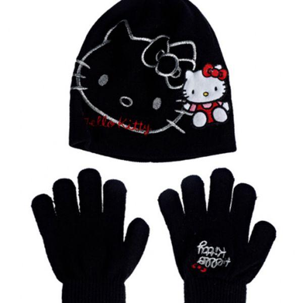 Dětský černý zimní set Hello Kitty - čepice a rukavice
