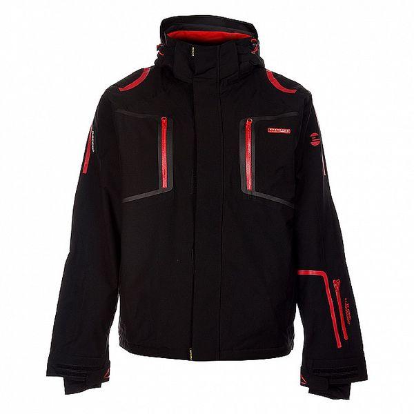 Pánska čierna lyžiarska bunda Envy s červenými detailami