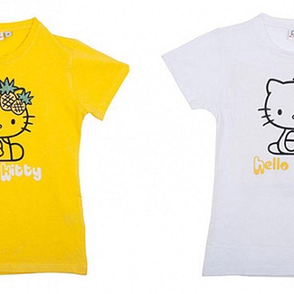 Balení dvou dětských triček Hello Kitty - žluté a bílé