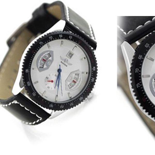 Luxusní automatické hodinky WINNER LUXURY z nerezové oceli, minerálním sklíčkem a koženým řemínkem s ukazatelem data a dvojitou vteřinovkou!