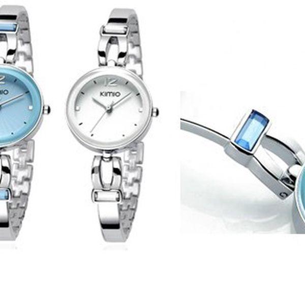 Elegantní dámské hodiny KIMO ve dvou barevných provedeních s kamínky a upravitelným kovovým řemínkem!