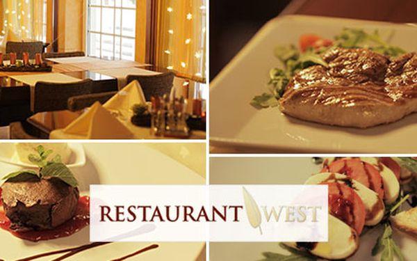 3 chodové menu pre 2 osoby v luxusnej Reštaurácii West