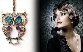 Řetízek Sova s kamínky. Krásný šperk pro každou příležitost. Buďte originální a krásná s jedinečnou ozdobou na Vašem dekoltu.