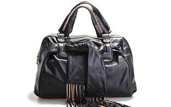 Dámská černá kožená kabelka Belle & Bloom se zlatými řetízky a šálou