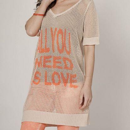Dámský béžový svetr Mell s oranžovým potiskem