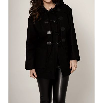 Dámský černý kabát Mell s kapucí