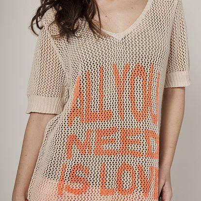 Dámsky béžový sveter Mell s oranžovou potlačou