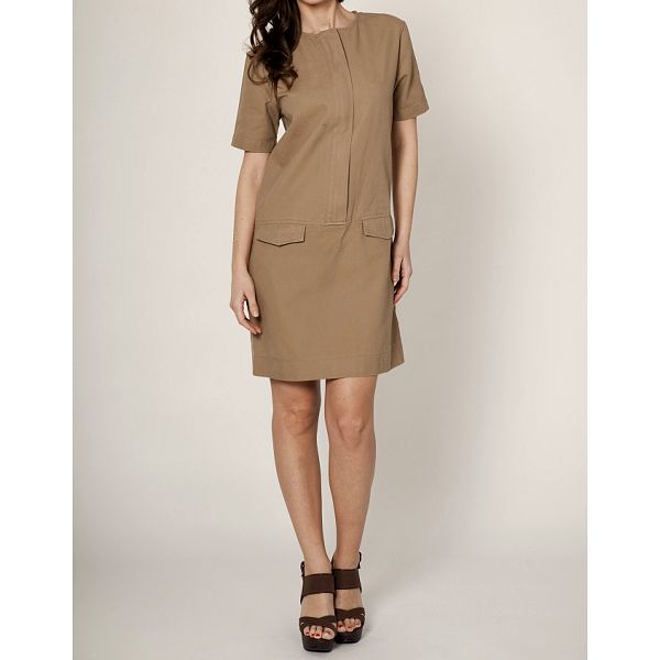 Dámske svetlo hnedé púzdrové šaty Mell