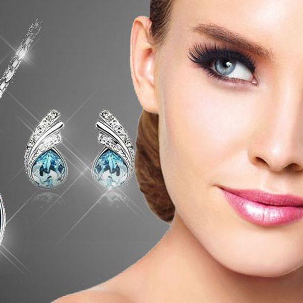 Set náušnic a náhrdelníku modrá kapka Swarovski elements