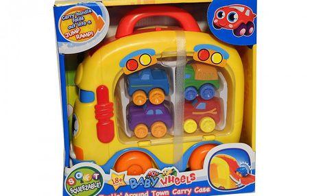 Kufřík s autíčky a s rampou. 4 miniautíčka. Vyrobeno z kvalitního plastu.