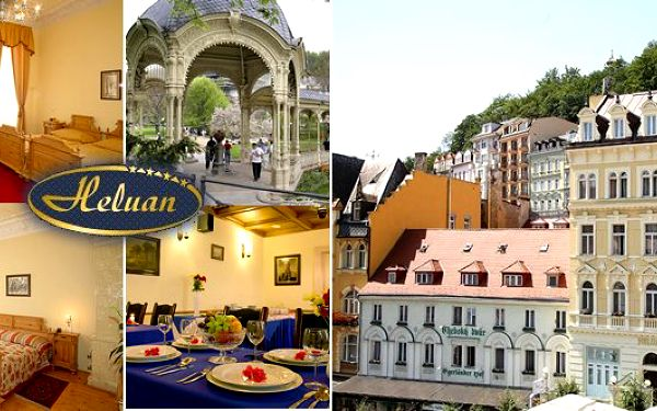 S kuponem za 589 Kč nebo 719 Kč lázně KARLOVY VARY - romantický pobyt v komfortním 4* hotelu Heluan pro dvě osoby s polopenzí v samém srdci světoznámého lázeňského města. Léčivé prameny, romantická večeře při svíčkách v luxusní restauraci, vstup do bazénového komplexu Alžbětiny Lázně a masáž dle výběru!