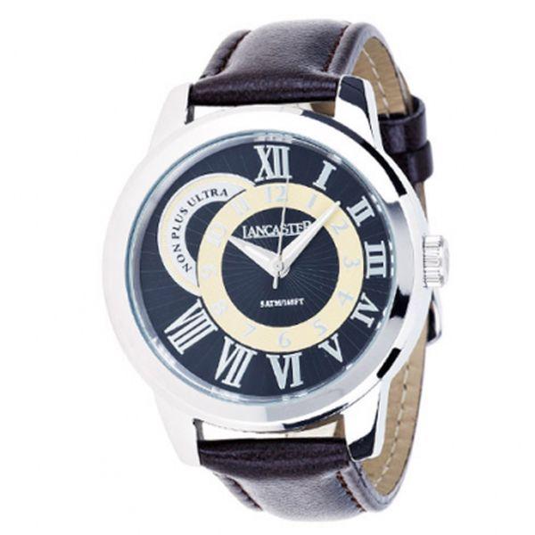 Pánske oceľové hodinky Lancaster s hnedým koženým remienkom