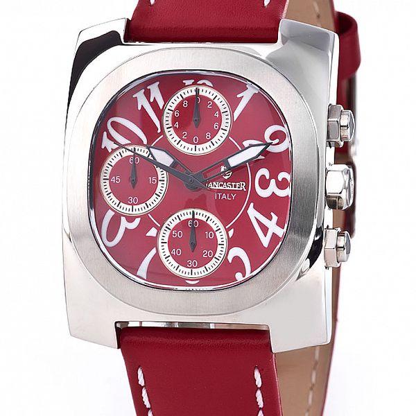 Oceľové hodinky Lancaster s červeným remienkom