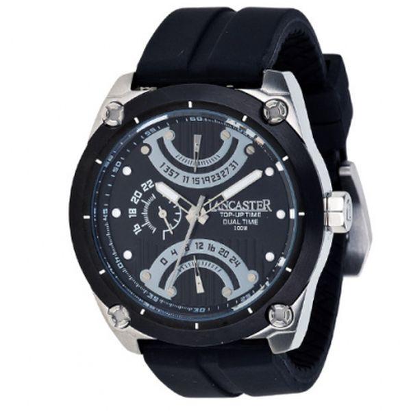 Pánské černé ocelové hodinky Lancaster se silikonovým řemínkem