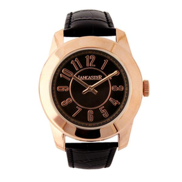 Dámske zlaté hodinky Lancaster s čiernym ciferníkom a čiernym koženým remienkom
