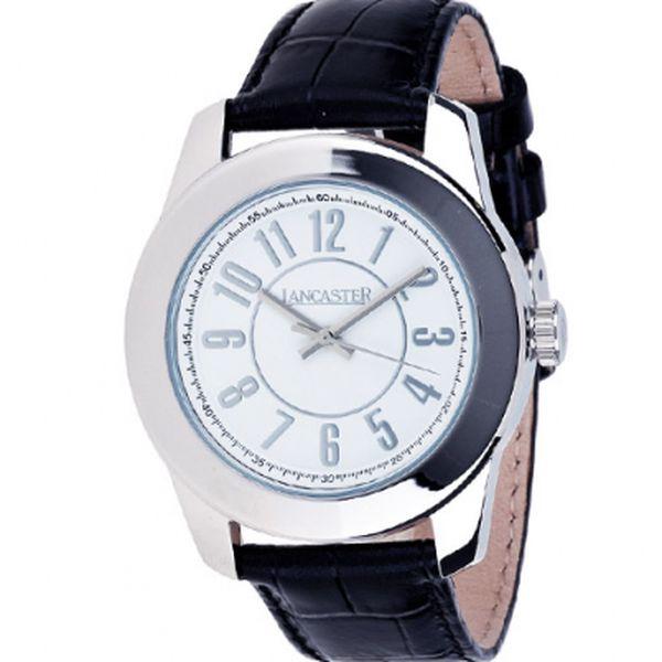Dámské ocelové hodinky Lancaster s bílým ciferníkem a černým koženým řemínkem