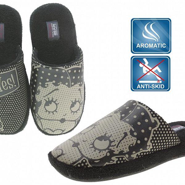 Dámske čierne voňavé papuče Beppi s potlačou