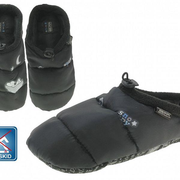 Dámska čierna prešívaná domáca obuv Beppi Snoopy