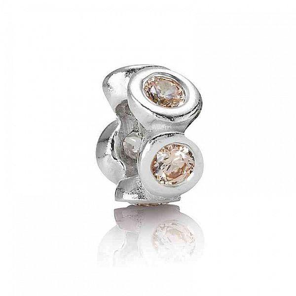 Stříbrný přívěsek Pandora s kamínky v barvě champagne