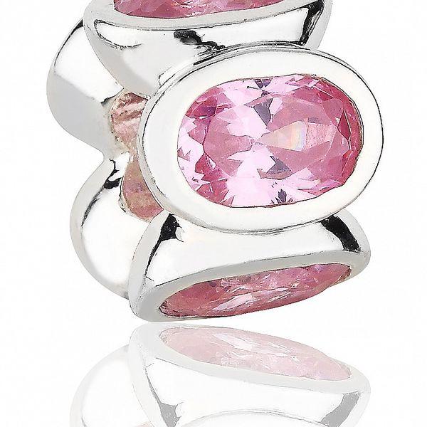 Stříbrný přívěsek Pandora s růžovými broušenými kamínky