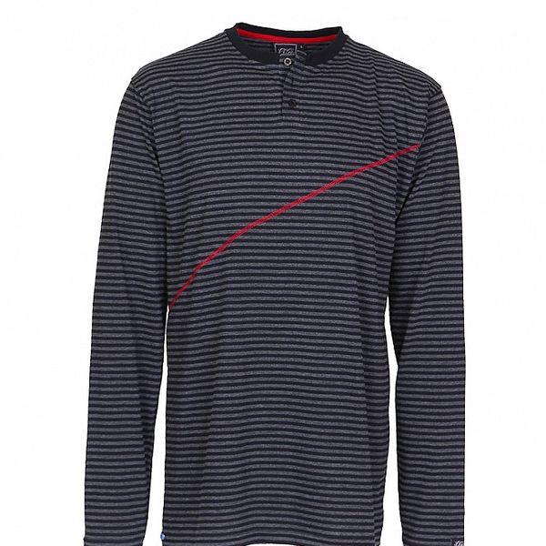 Pánske tmavo šedé prúžkované tričko Chico s červeným švom
