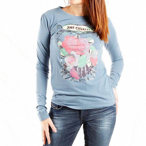 Dámské světle modré tričko Just Cavalli s potiskem růží