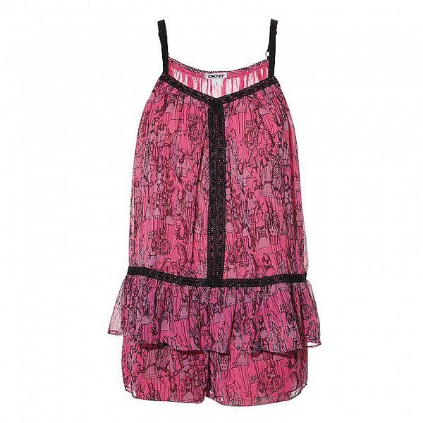 Luxusní set košilky a kraťásků v růžové barvě DKNY