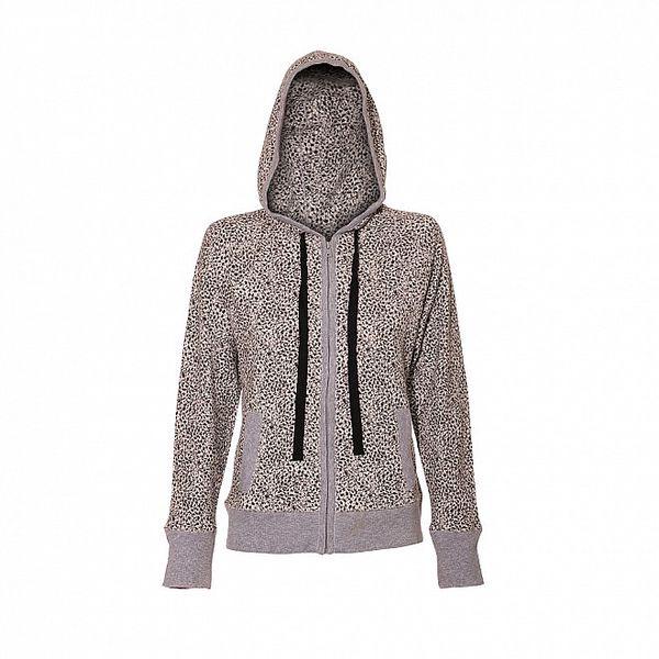Mikina značky DKNY ve světle šedé barvě se vzorem