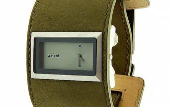 Dámské hodinky Axcent se širokým zeleným koženým náramkem