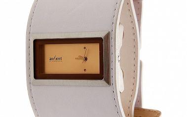 Dámské hodinky Axcent se širokým bílým koženým náramkem