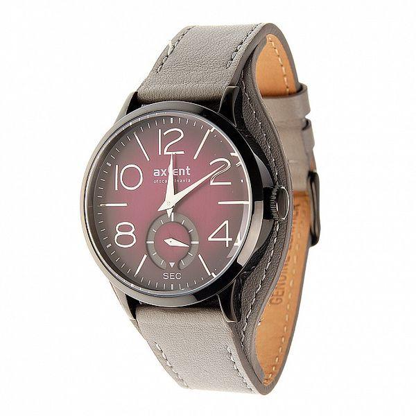 Dámské fialové náramkové hodinky Axcent se šedivým řemínkem