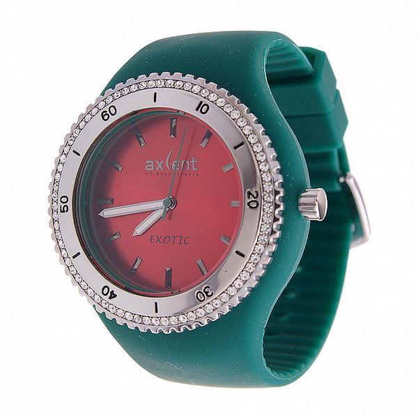 Dámske náramkové hodinky Axcent s čiernym pryžovým remienkom a kamienkami