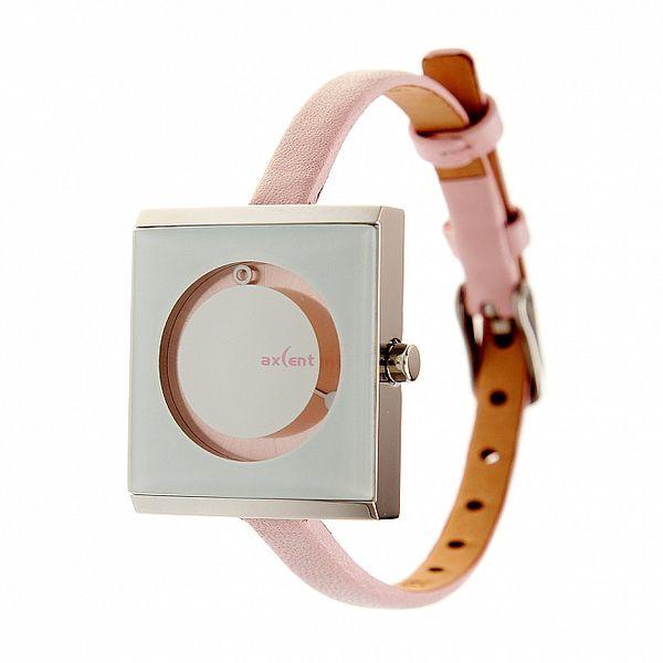 Dámske ružovo-strieborné náramkové hodinky Axcent