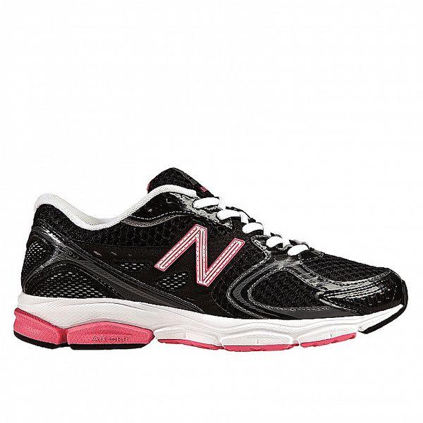 Dámské černé běžecké boty s růžovými detaily