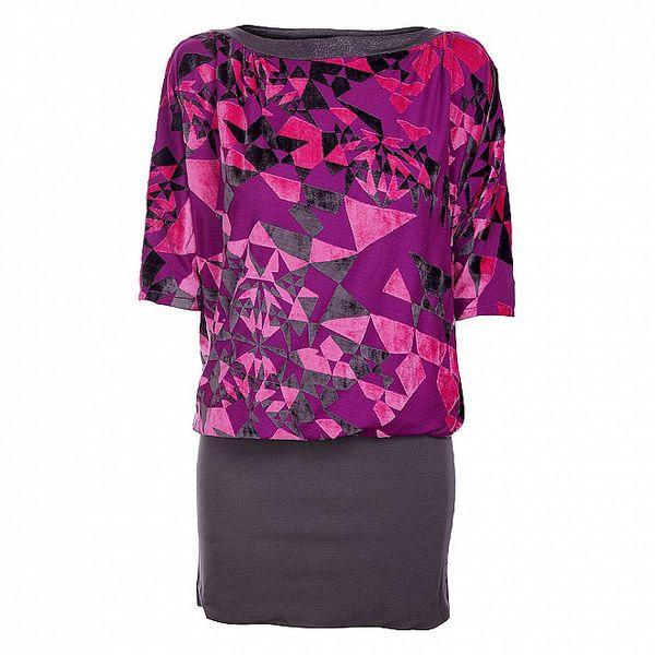 Dámské fialovo-šedé šaty Custo Barcelona s plyšovým vzorem