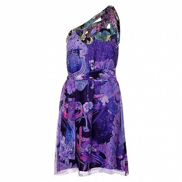 Dámské fialové hedvábné šaty Custo Barcelona s potiskem a kamínky