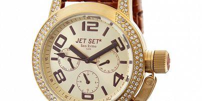 Dámské zlaté hodinky Jet Set s hnědým koženým řemínkem a ...