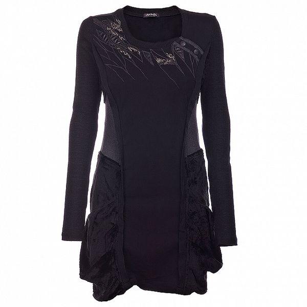 Dámske čierne šaty Angels Never Die s korálkami a kožušinou