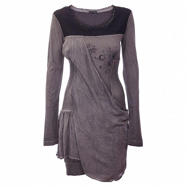 Dámske antracitové šaty Angels Never Die s potlačou a čipkou