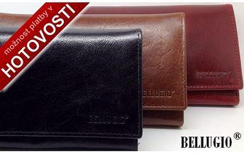 Italská lesklá kůže, dámské luxusní peněženky BELLUGIO ve 3 odstínech. Absolutně luxusní záležitost za skvělou cenu 449,-Kč. Udělejte radost italským designem a skvělou kvalitou.