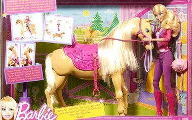 Luxusní sada panenky Barbie se šlechetným koněm.